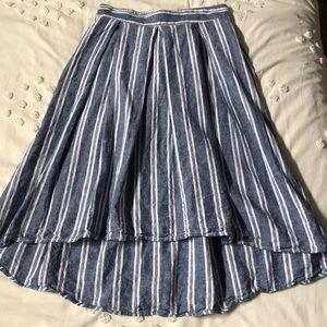 Max Studio Blue/White Striped High/Low Skirt M